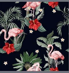 seamless pattern with pink flamingo flowers and vector image