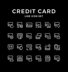 Set line icons of credit card vector