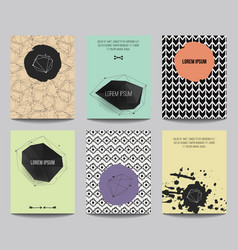 Set modern posters with geometrical shapes and vector