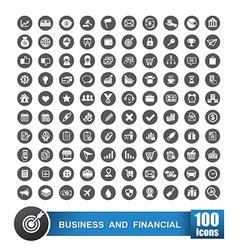 Set of 100 icons business and financial on grey vector image