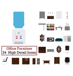 set of 24 office furniture icons vector image
