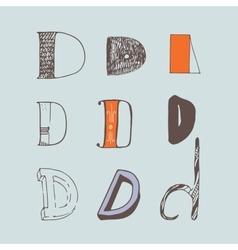 Set of colorful alphabet letters D vector
