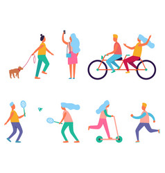 set of peoples activities vector image