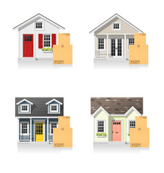 set of small houses and cardboard boxes vector image
