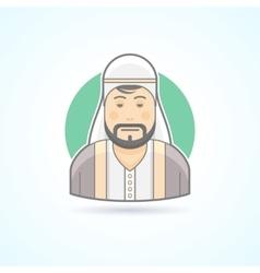 Sheikh arabian man icon vector