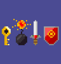 shield and bomb with fire explosion sword icon vector image