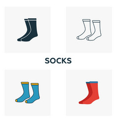 socks icon set four elements in diferent styles vector image