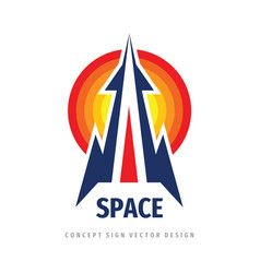 Space rocket ship concept logo template vector