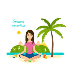 ssummer girl is engaged in yoga and meditation vector image