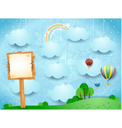 surreal landscape with hot air balloons and vector image
