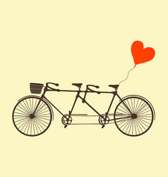 Tandem bicycle and heart vector