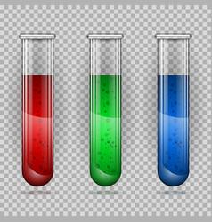 transparent medical glass tube set vector image