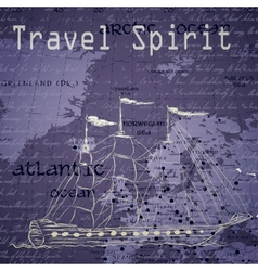 Travel background with vintage map and handwritten vector image