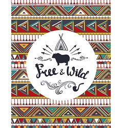 Tribal Card Template with hipster lettering Free vector