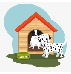 Two dog house bowl food vector
