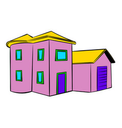 Two-storey house icon icon cartoon vector