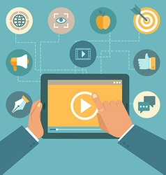 Video marketing concept in flat style vector
