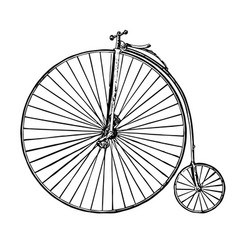 Vintage bicycle penny farthing vector