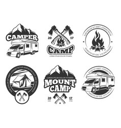 vintage labels set with camper near vector image