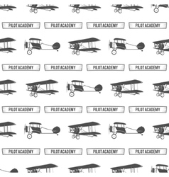 Vintage pilot academy pattern Old Biplanes vector
