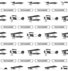 Vintage pilot academy pattern Old Biplanes vector image