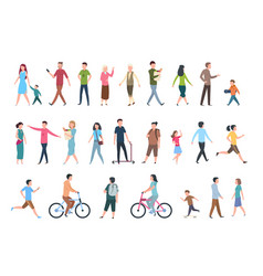 Walking people persons in casual clothes crowd vector