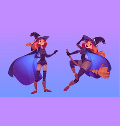 Witch flying on broom beautiful redhead woman vector
