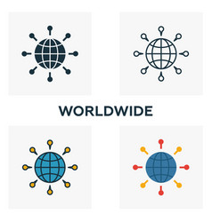 worldwide icon set four elements in diferent vector image