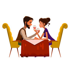 Young passionate couple drinking wine in cafe vector