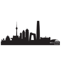 beijing china city skyline silhouette vector image