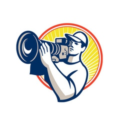 Cameraman film crew hd video camera vector