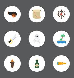 flat icons treasure map flame ship steering vector image vector image