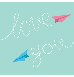 Pink and blue origami paper planes Dash line text vector image vector image