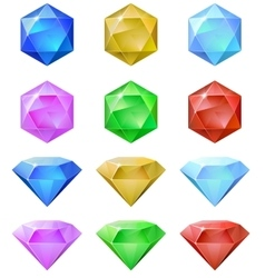 Set of colorful gemstones vector image vector image