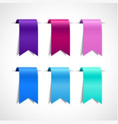 set of purple blue decorative ribbon vector image