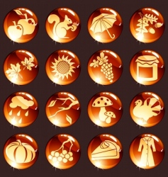 set of red autumn icons vector image vector image