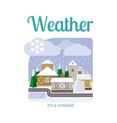 Snowfall in town vector