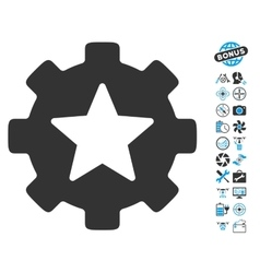 Star Favorites Options Gear Icon With Copter Tools vector image