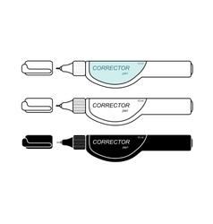 Stationery white corrector pen set vector image