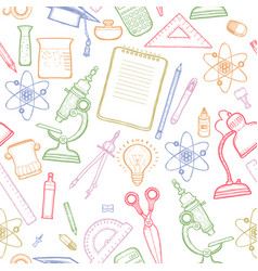 green school detailed seamless pattern vector image vector image
