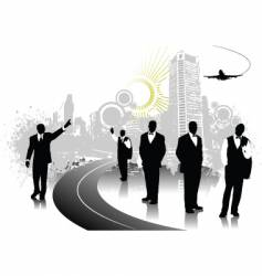 people silhouettes with urban background vector image vector image