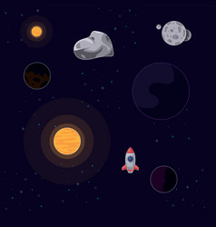rocket flying in space between vector image
