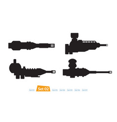 set of spaceship weapons silhouette two vector image vector image