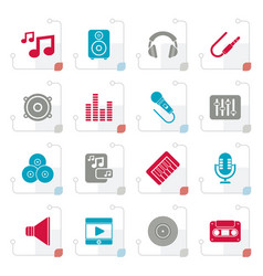 stylized music sound and audio icons vector image vector image