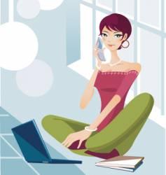 Technology lifestyle girl vector