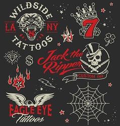 Vintage tattoo graphic elements set vector image