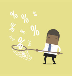 african businessman catching percent signs vector image vector image