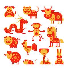 chinese horoscope horoscopy animal symbol vector image vector image