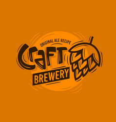 Craft brewery logo with a beer hop vector