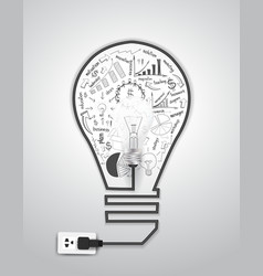 Creative light bulb with drawing charts and graphs vector